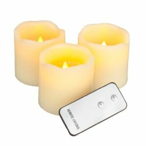 "Everlasting Glow LED Wax Pillar Candles, Remote Control, Ivory, Set of 3, 3"" x 3"""