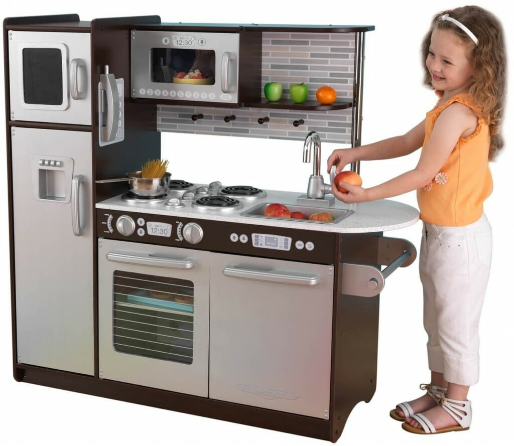 Showing Off The Best In Stainless Themed Modern Style And Convenience Is Uptown Espresso Kitchen By Kidkraft Set S Liances Include A